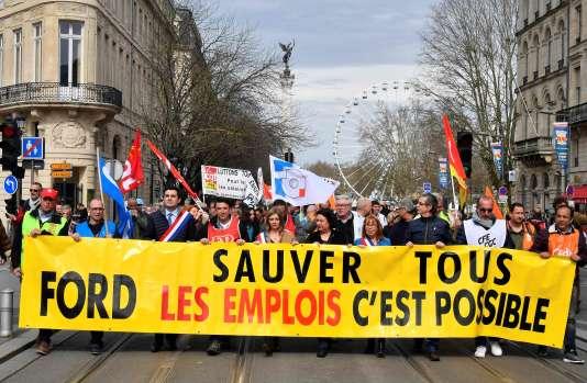 Manifestation contre la fermeture du site de Ford à Blanquefort, le 9 mars.