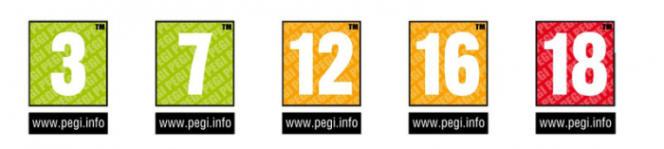 Les cinq catégories d'âge de PEGI.