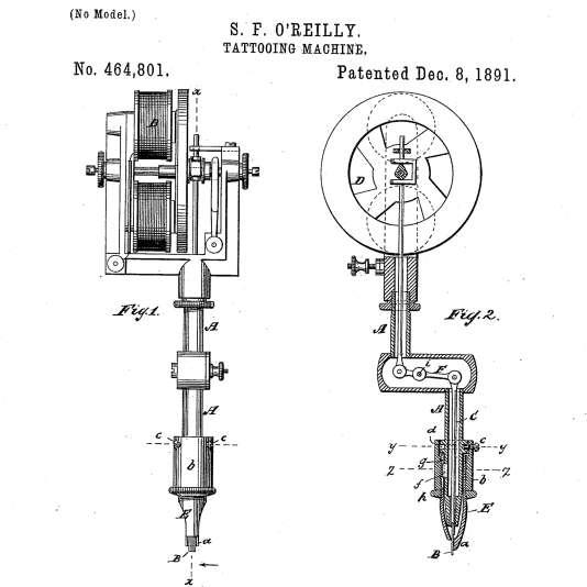 Brevet de la première machine à tatouer électronique déposé par Samuel O'Reilly, le 8 décembre 1891.