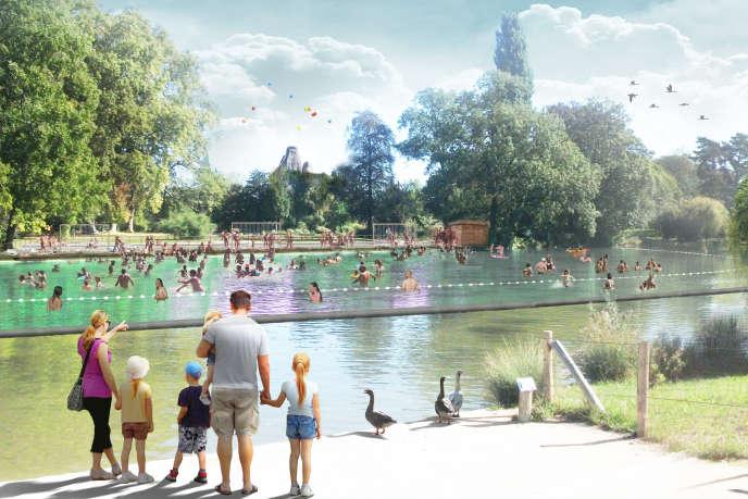 Vue d'artiste du projet d'aménagement du lac de Daumesnil pour la baignade, dans le bois de Vincennes, à Paris
