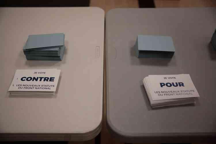 Dans un bureau de vote sur les nouveaux statuts du FN, à Lille, le 10 mars.