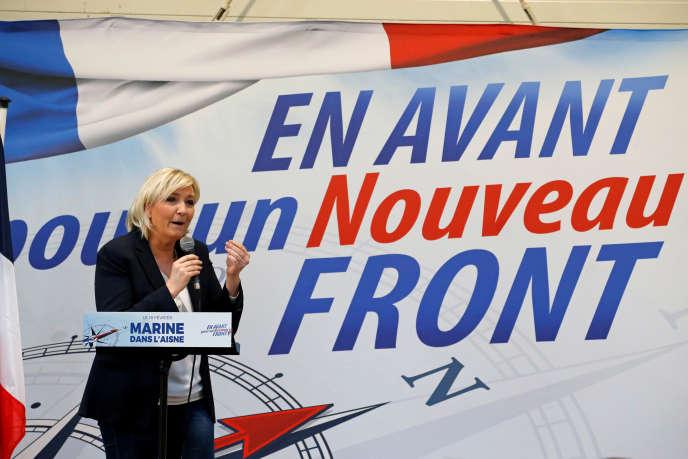 La présidente du Front national, Marine Le Pen, à Laon, le 18 février.