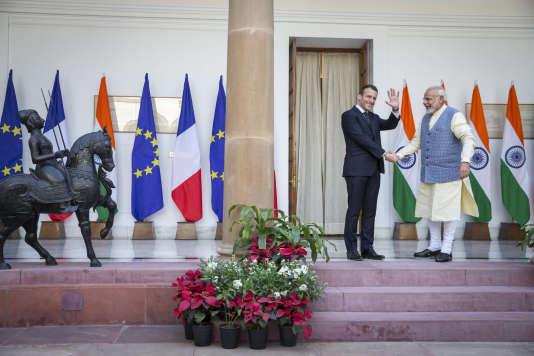 Emmanuel Macron et Narendra Modi, samedi 10mars, à New Delhi.
