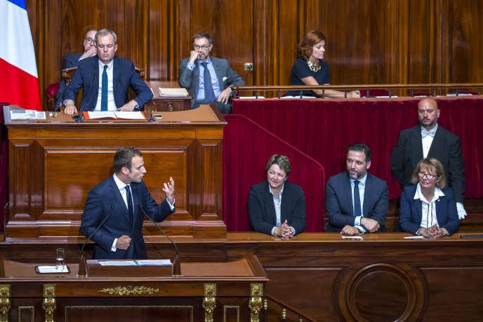 Emmanuel Macron, président de la République, devant le Parlement réuni en Congrès à Versailles, lundi 3 juillet 2017.