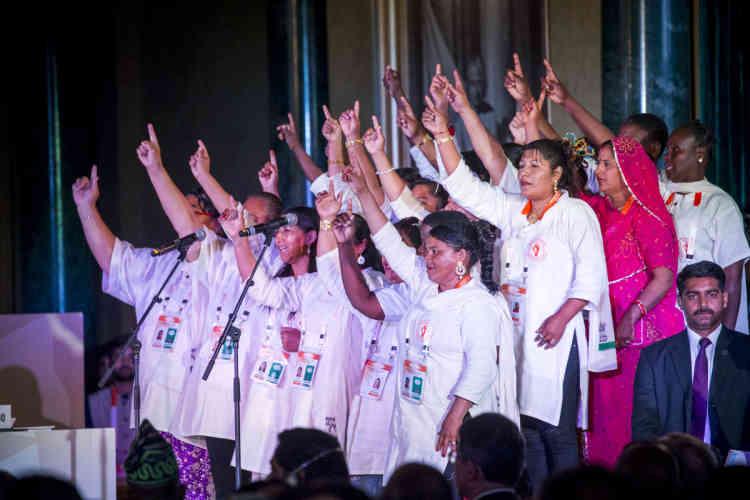 Les «Solar Mamas» femmes formées au photovoltaïque participent au Sommet international de l'Alliance solaire.