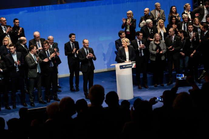 Marine Le Pen, lors du congrès à Lille le 11 mars 2018.