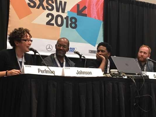 De gauche à droite : Nicole Perlman, Clifford Johnson, Joe Robert Cole et Rick Loverd.