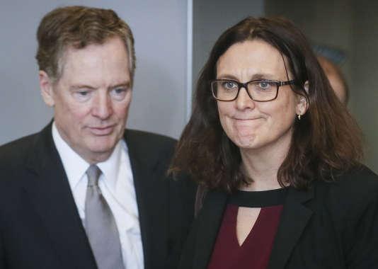 Lereprésentant au commerce américain Robert Lighthizer et la commissaire européenne Cecilia Malmström, à Bruxelles, le 10 mars