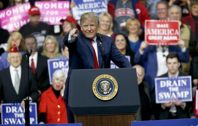 Le président des Etats-Unis Donald Trump lors d'un meeting en Pennsylvanie, le 10mars.