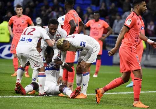 Bertrand Traoré après son but contre Caen, le 11 mars 2018.