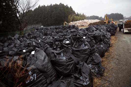 Débris contaminés radioactifs sur la zone d'exclusion de Tomioka, dans la préfecture de Fukushima, le 5 mars.