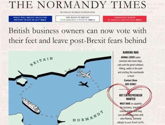 Capture d'écran de la« une» de l'imaginaireNormandy Times.
