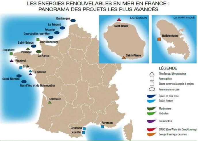 Les projets d'énergies renouvelables en mer en France.