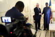 Le chef de l'Etat tchadien, Idriss Déby Itno, accueille le secrétaire d'Etat américain, Rex Tillerson, au palais présidentiel àN'Djamena, lundi 12mars2018.