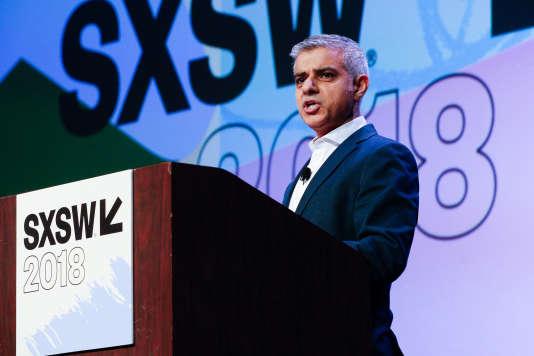 Sadiq Khan, le maire de Londres, au festival SXSW à Austin, Texas, lundi 12 mars.