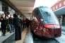 Une rame Italo, premier train à grande vitesse d'Europe géré par un acteur privé, en gare de Naples, le 16 février.