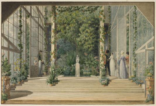 «Intérieur de la serre chaude», par Auguste Garnerey, aquarelle (Musée des châteaux de Malmaison et de Bois-Préau).