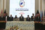 Le président afghan Ashraf Ghani (au centre) lors de la deuxième conférence sur la paix, le 28 février, au Palais présidentiel de Kaboul (Afghanistan).