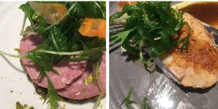 Salade demizuna et saucisson lyonnais et suprême de volaille.