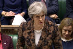 La Première ministre britannique, Theresa May, à la chambre des Communes, le 13 mars 2018.