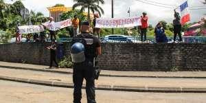 Des manifestants mahorais le 12 mars.