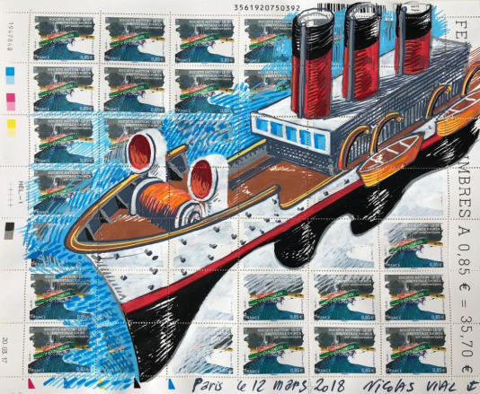 Timbre sur la Société nationale de sauvetage en mer, en feuille de 42 exemplaires, avec une illustration originale du créateur du timbre, Nicolas Vial (marqueurs Posca).