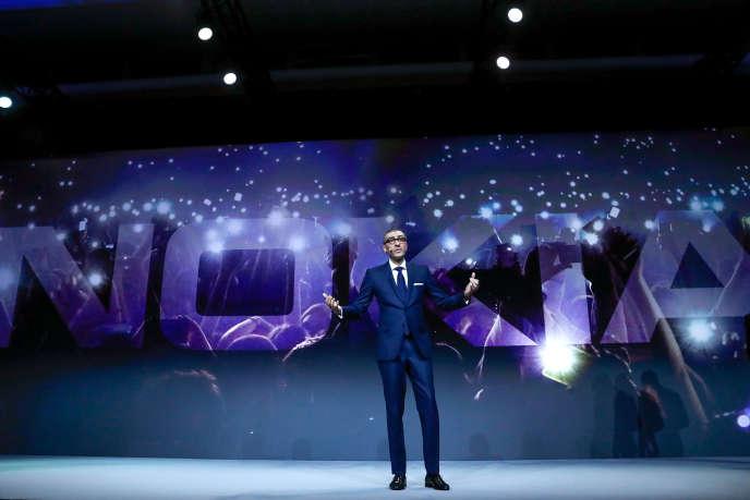 Le patron de Nokia Rajeev Suri lors du Mobile World Congress de Barcelone, le 25 février 2018.