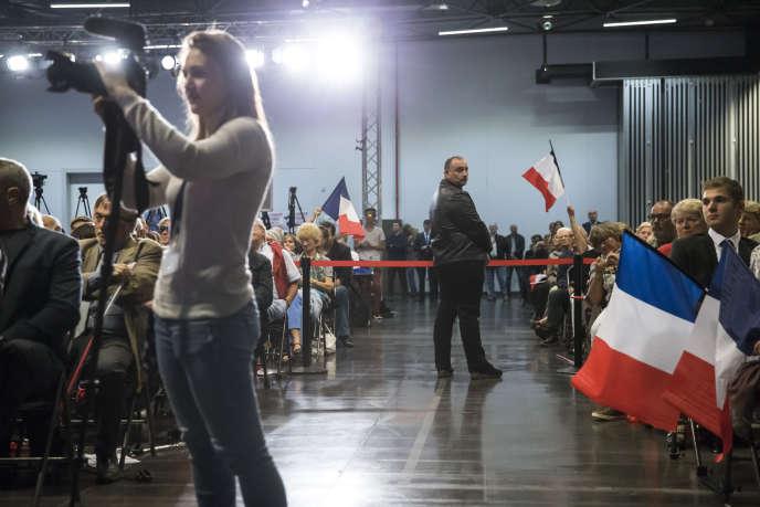 Premier meeting de campagne pour la présidence du parti Les Républicains de Laurent Wauquiez, à Mandelieu-La Napoule (Alpes-Maritimes), en octobre 2017.