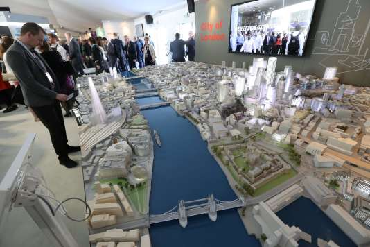 La maquette de la City de Londres au Marché international des professionnels de l'immobilier (Mipim) à Cannes, le 13 mars 2018.