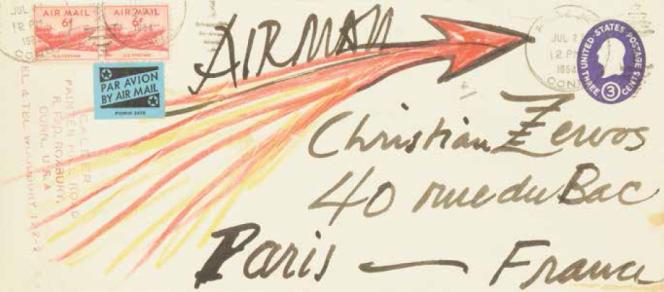 Encre de chine et crayons de couleur sur enveloppe. Adressée à Christian Zervos à Paris. Tampon de l'expéditeur. Format 24×10,5cm. Estimation : 2000-3000euros. Prix atteint : 3250euros.