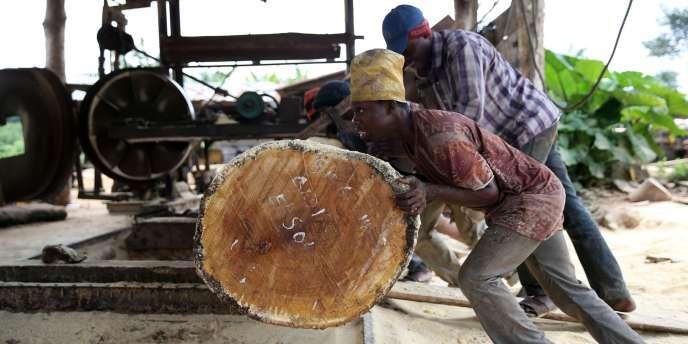 Taille d'une grume dans une scierie nigériane, en août 2014.