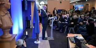 Jean-Michel Blanquer, ministre de l'éducation, en conférence de presse sur la réforme du baccaluréat, à Paris, le 14 février.