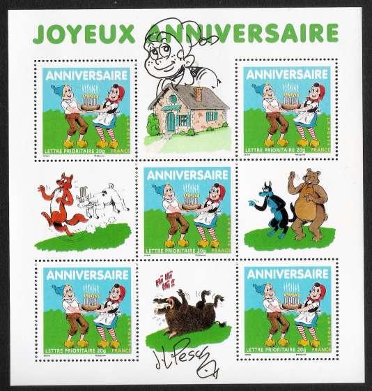 Bloc de timbre illustré et signé par Jean-Louis Pesch, qui a repris« Sylvain et Sylvette».