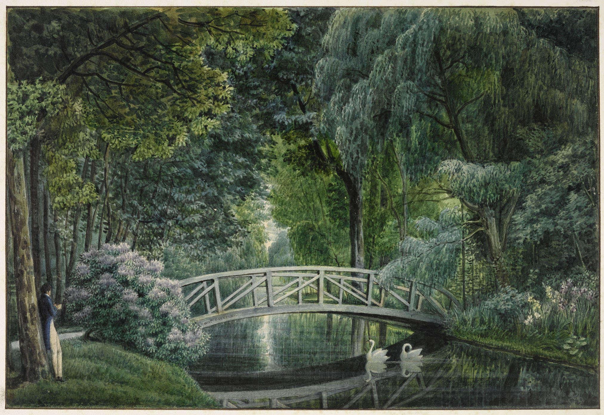 La végétation exubérante du jardin pittoresque, magnifiée par l'artiste, devait rappeler à Joséphine celle de ses« Isles» d'Amérique.