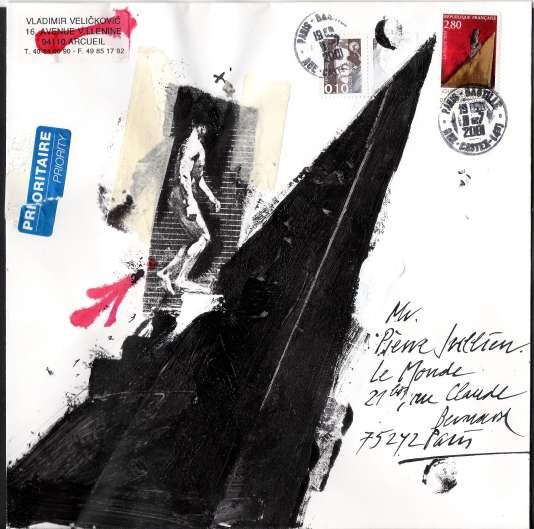 Enveloppe affranchie d'un timbre de Vladimir Velickovic et illustrée par le peintre (2001).