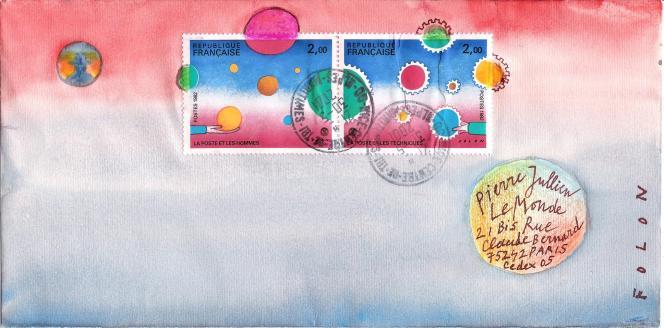 Enveloppe illustrée en 2001 par Jean-Michel Folon, avec deux timbres réalisés par l'artiste belge pour la France en 1982.
