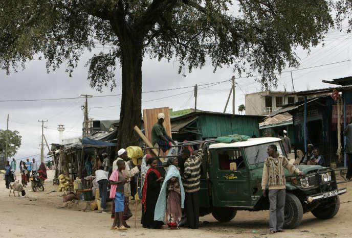 Dans la partie kényane de la ville de Moyale, qui s'étend de part et d'autre dela frontière avec l'Ethiopie, en juillet2008.