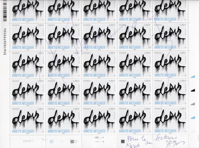 Feuille de timbres d'Annette Messager dédicacée.