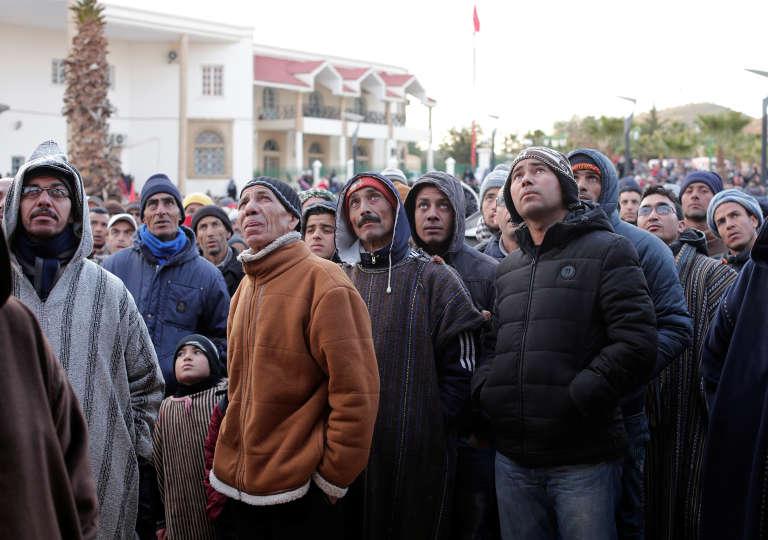 Pendant une manifestation organisée après la mort d'un mineur dans une exploitation clandestine, à Jerada, le 3février2018.