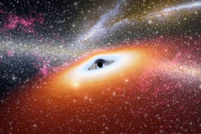 Illustration d'artiste d'un trou noir supermassif au cœur d'une jeune galaxie.