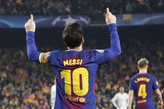 L'Argentin du FC Barcelone, Lionel Messi, après le troisième but de son équipe face à Chelsea, en huitièmes de finale retour de la Ligue des champions, au Camp Nou, le14mars.