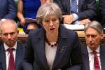 La première ministre britannique Theresa May, lors d'un discours à la Chambre des communes, le 14 mars 2018. Elle a annoncé la suspension des contacts bilatéraux avec la Russie.