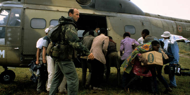 """The Opération Turquoise was a French-led military operation in Rwanda in 1994 under the mandate of the United Nations. On 18 June, the French government made an announcement of their intentions to organize, establish and maintain, a """"safe zone"""", in the south-west of Rwanda. The Operation Turquoise was adopted by UN and 2,550 French troops and 500 African troops entered Rwanda the next day. Evacuation by helicopter of wounded Tutsi to the mountainous region of Bisesero."""