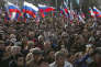 Pendant un concert à Sébastopol, le 14 mars 2018, célébrant le quatrième anniversaire de l'annexion de la Crimée par la Russie.
