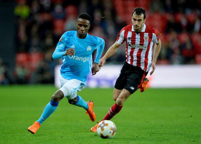 Le joueur de Marseille Bouna Sarr à Bilbao, jeudi 15 mars.