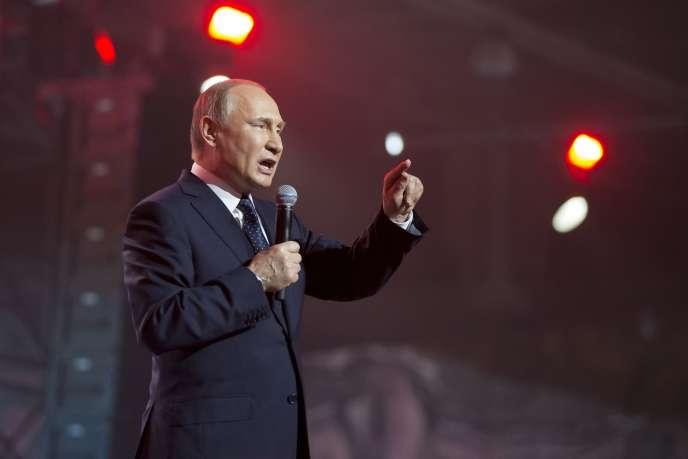 Le président de la Fédération de Russie, Vladimir Poutine, lors d'un forum, à Moscou, le 15 mars.