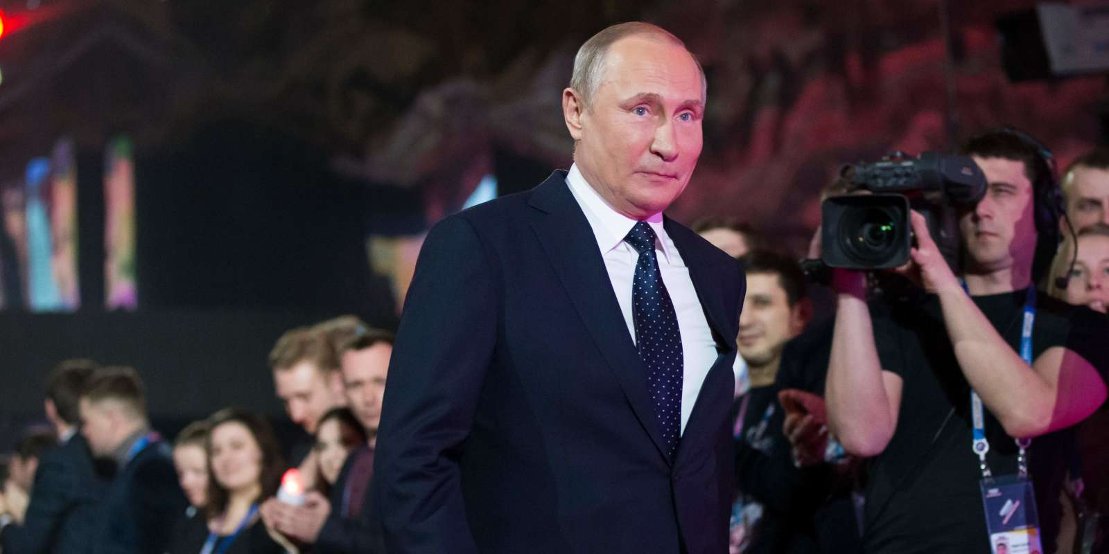 Russian President Vladimir Putin arrives to give a speech at a youth forum