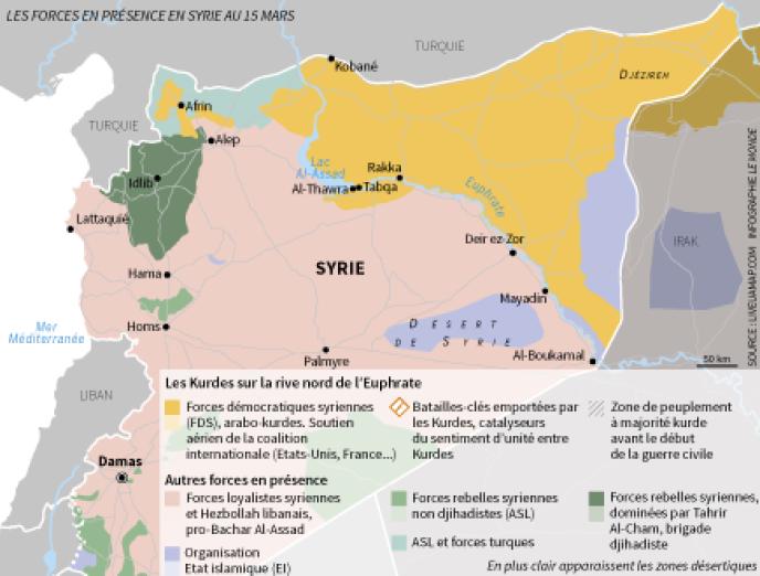 Les forces en présence en Syrie au 15 mars 2018, avant les dernières avancées de l'armée turque à Afrin.