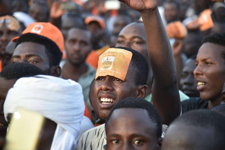 Pendant un rassemblement de l'opposition à N'Djamena en avril2016.