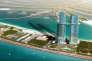 Vue d'artiste des deux tours du futur hôtel « Palm 360» sur l'île artificielle Palm Jumeirah à Dubaï aux Emirats arabes unis.